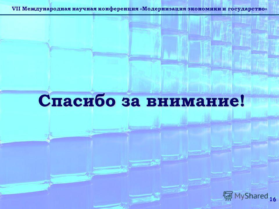 VII Международная научная конференция «Модернизация экономики и государство» 16 Спасибо за внимание!