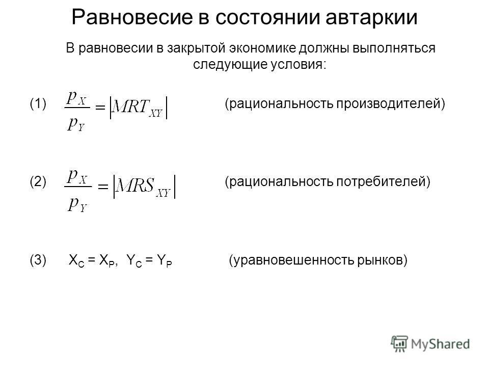 Равновесие в состоянии автаркии В равновесии в закрытой экономике должны выполняться следующие условия: (1) (рациональность производителей) (2) (рациональность потребителей) (3) X C = X P, Y C = Y P (уравновешенность рынков)