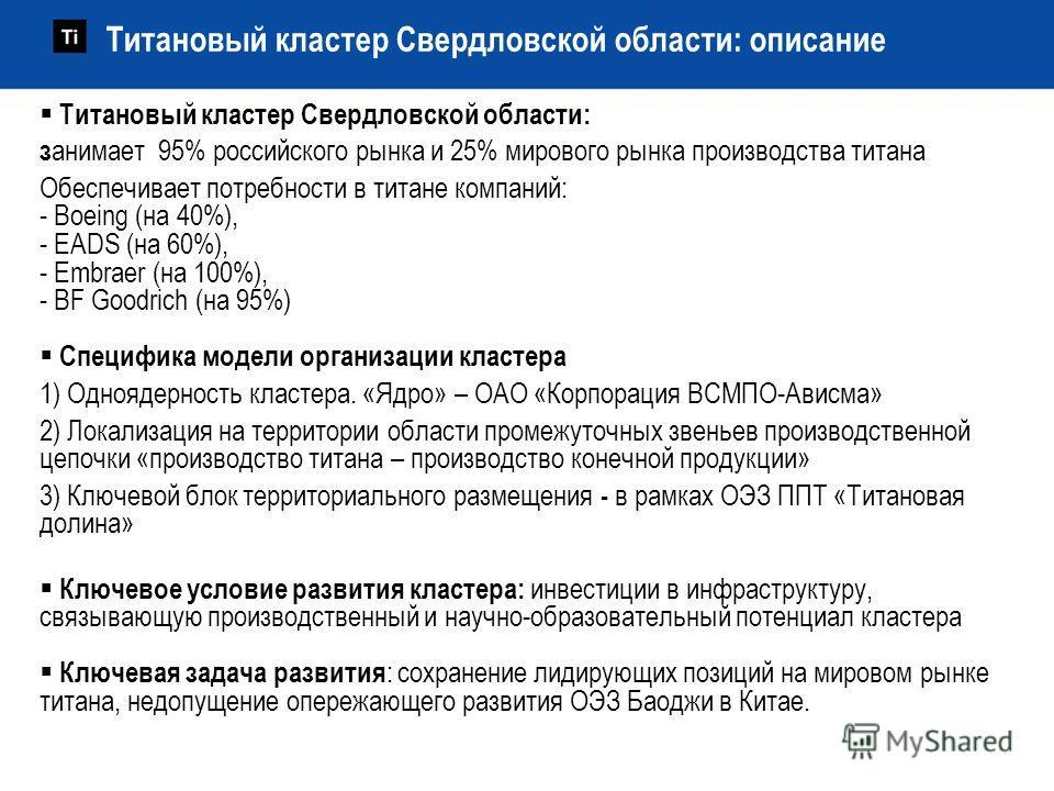 Титановый кластер Свердловской области: з анимает 95% российского рынка и 25% мирового рынка производства титана Обеспечивает потребности в титане компаний: - Boeing (на 40%), - EADS (на 60%), - Embraer (на 100%), - BF Goodrich (на 95%) Специфика мод