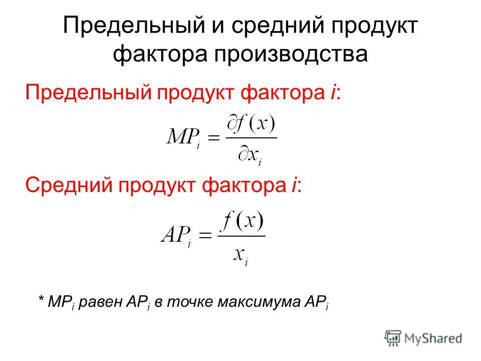 Предельный и средний продукт фактора производства Предельный продукт фактора i: Средний продукт фактора i: * MP i равен AP i в точке максимума AP i