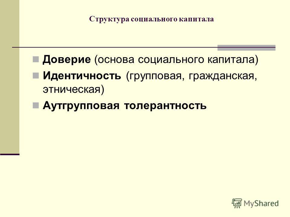 Структура социального капитала Доверие (основа социального капитала) Идентичность (групповая, гражданская, этническая) Аутгрупповая толерантность