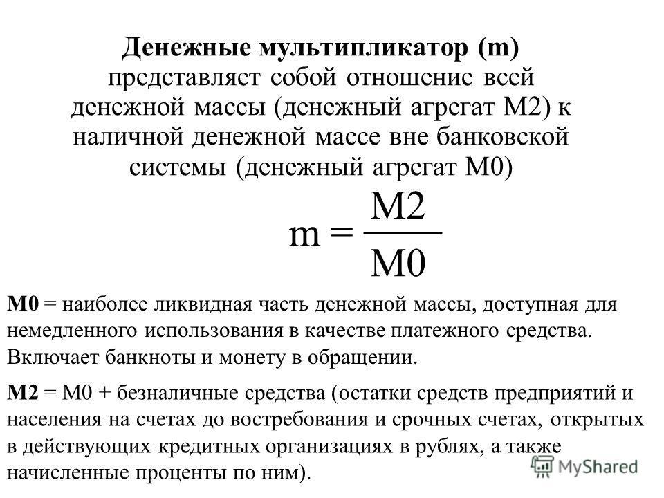 Денежные мультипликатор (m) представляет собой отношение всей денежной массы (денежный агрегат М2) к наличной денежной массе вне банковской системы (денежный агрегат М0) m = М2 М0 М0 = наиболее ликвидная часть денежной массы, доступная для немедленно