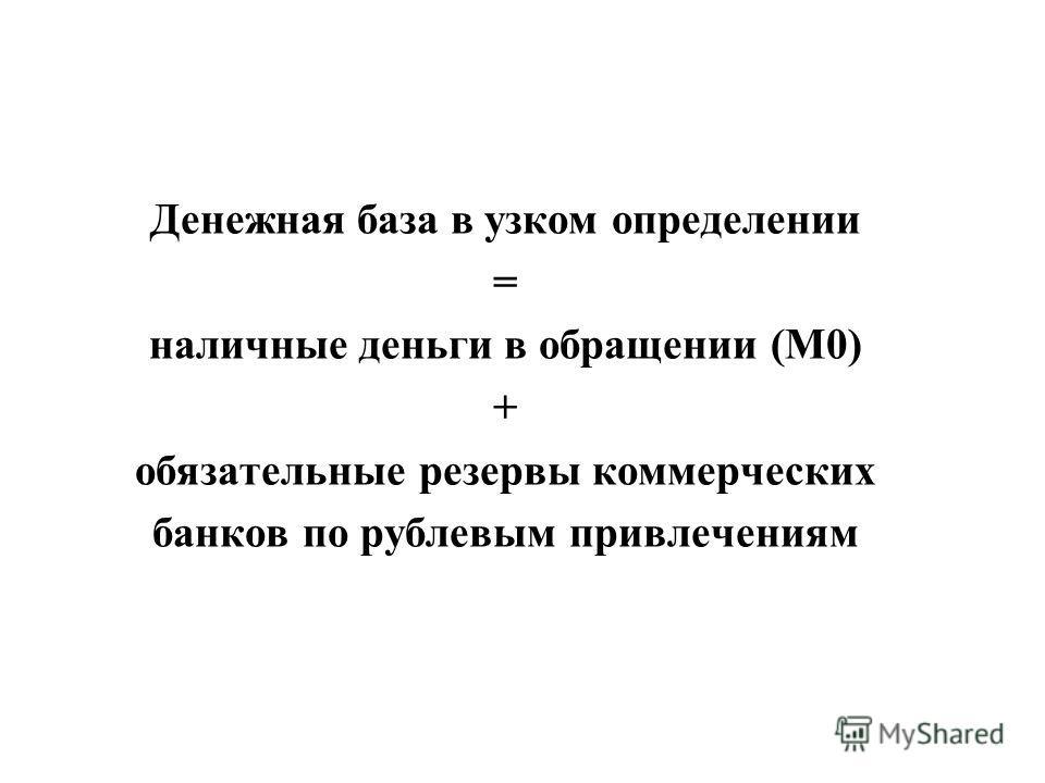 Денежная база в узком определении = наличные деньги в обращении (М0) + обязательные резервы коммерческих банков по рублевым привлечениям
