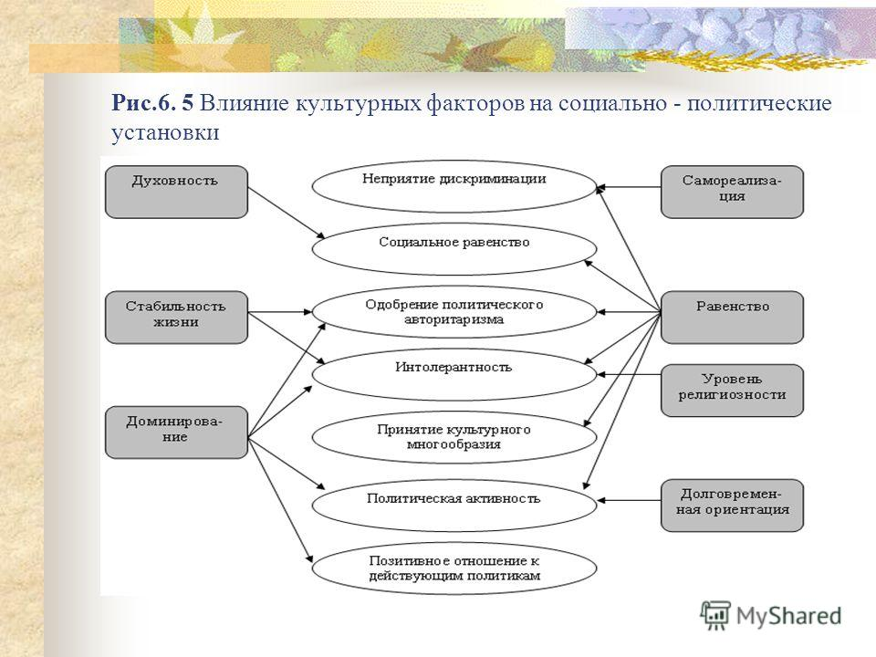Рис.6. 5 Влияние культурных факторов на социально - политические установки