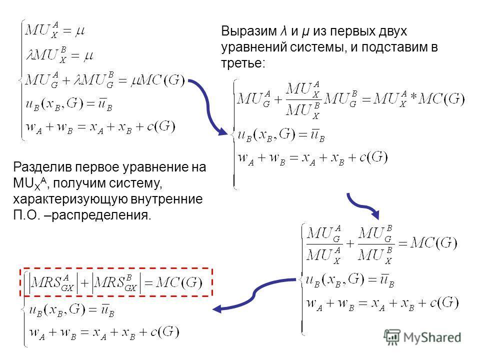 Выразим λ и μ из первых двух уравнений системы, и подставим в третье: Разделив первое уравнение на MU X A, получим систему, характеризующую внутренние П.О. –распределения.