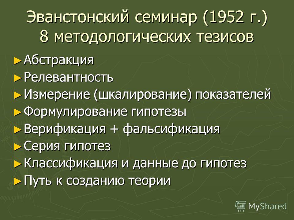 Эванстонский семинар (1952 г.) 8 методологических тезисов Абстракция Абстракция Релевантность Релевантность Измерение (шкалирование) показателей Измерение (шкалирование) показателей Формулирование гипотезы Формулирование гипотезы Верификация + фальси
