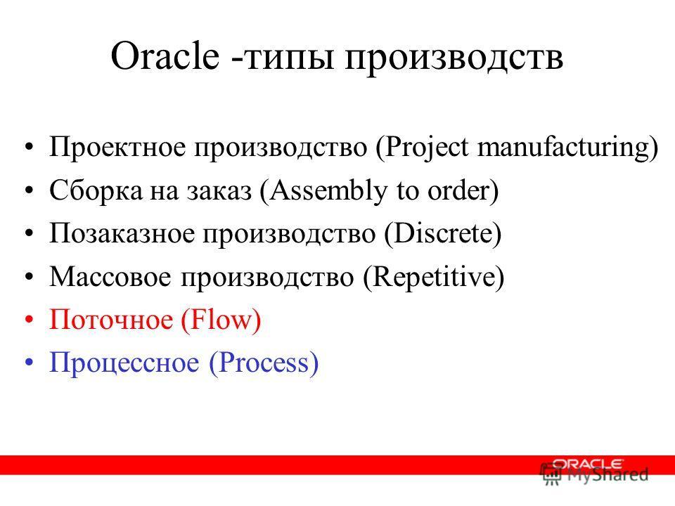 Oracle -типы производств Проектное производство (Project manufacturing) Сборка на заказ (Assembly to order) Позаказное производство (Discrete) Массовое производство (Repetitive) Поточное (Flow) Процессное (Process)
