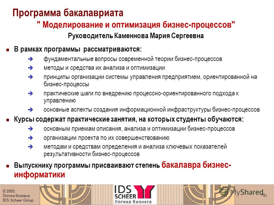 © 2005, Логика бизнеса IDS Scheer Group 11 Программа бакалавриата