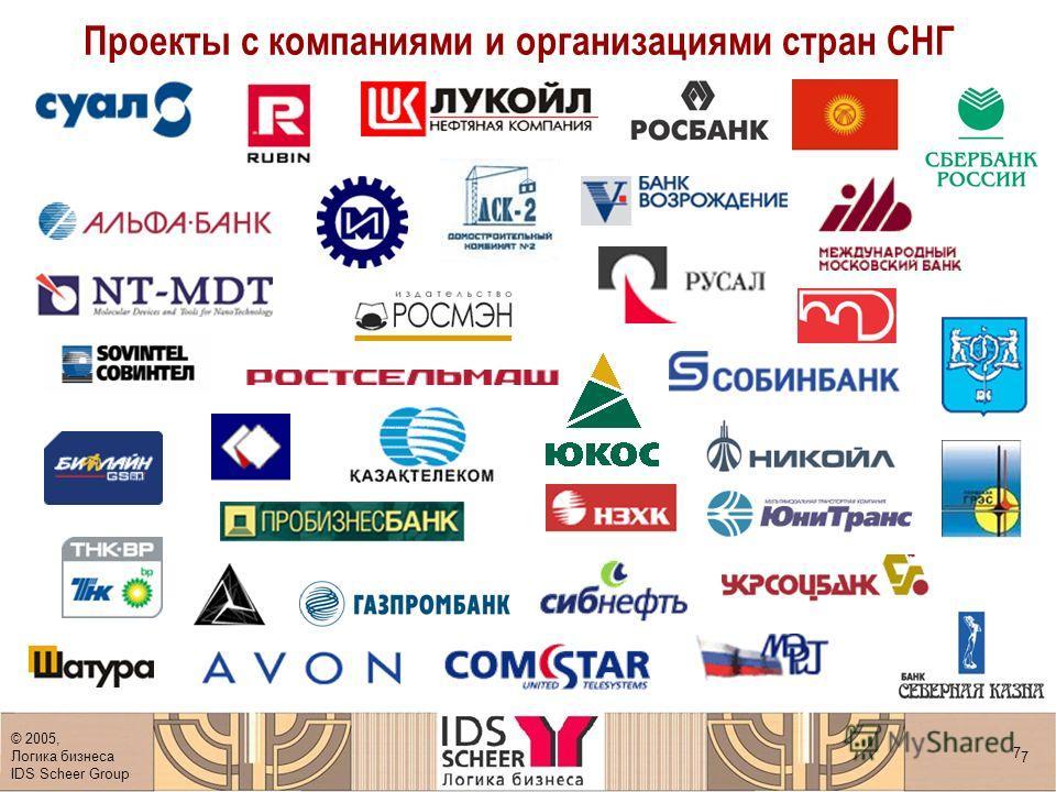 © 2005, Логика бизнеса IDS Scheer Group 7 7 Проекты с компаниями и организациями стран СНГ