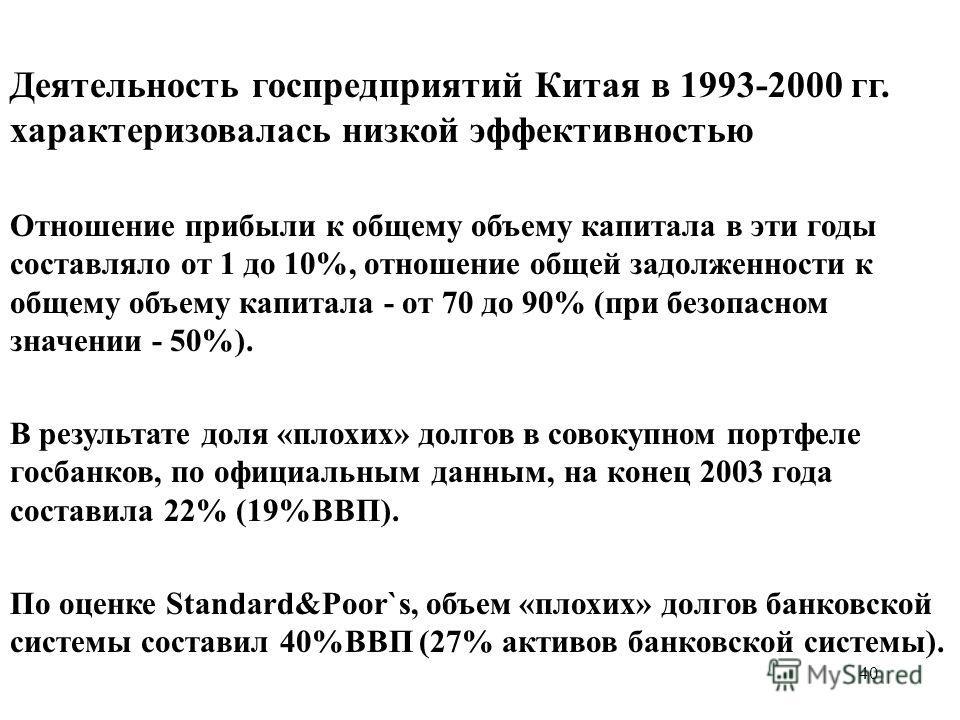 40 Деятельность госпредприятий Китая в 1993-2000 гг. характеризовалась низкой эффективностью Отношение прибыли к общему объему капитала в эти годы составляло от 1 до 10%, отношение общей задолженности к общему объему капитала - от 70 до 90% (при безо