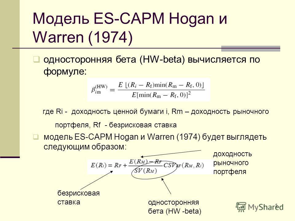 5 Модель ES-CAPM Hogan и Warren (1974) односторонняя бета (HW-beta) вычисляется по формуле: где Ri - доходность ценной бумаги i, Rm – доходность рыночного портфеля, Rf - безрисковая ставка модель ES-CAPM Hogan и Warren (1974) будет выглядеть следующи