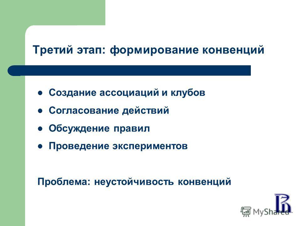 Третий этап: формирование конвенций Создание ассоциаций и клубов Согласование действий Обсуждение правил Проведение экспериментов Проблема: неустойчивость конвенций