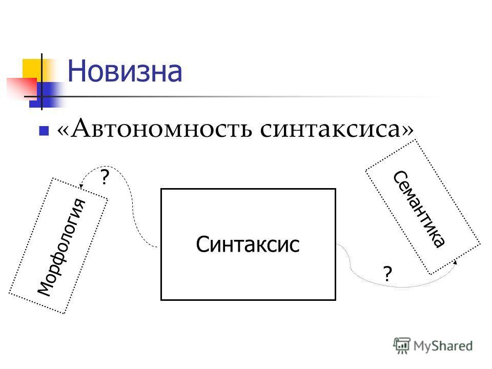 Новизна «Автономность синтаксиса» Синтаксис Семантика Морфология ? ?