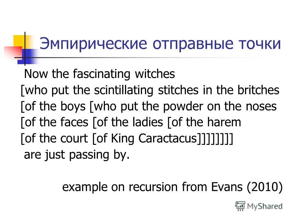 Эмпирические отправные точки Now the fascinating witches [who put the scintillating stitches in the britches [of the boys [who put the powder on the noses [of the faces [of the ladies [of the harem [of the court [of King Caractacus]]]]]]]] are just p