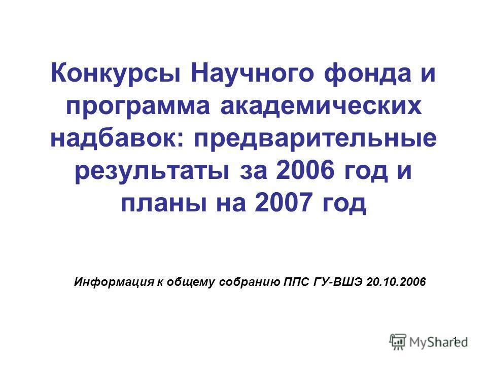 1 Конкурсы Научного фонда и программа академических надбавок: предварительные результаты за 2006 год и планы на 2007 год Информация к общему собранию ППС ГУ-ВШЭ 20.10.2006