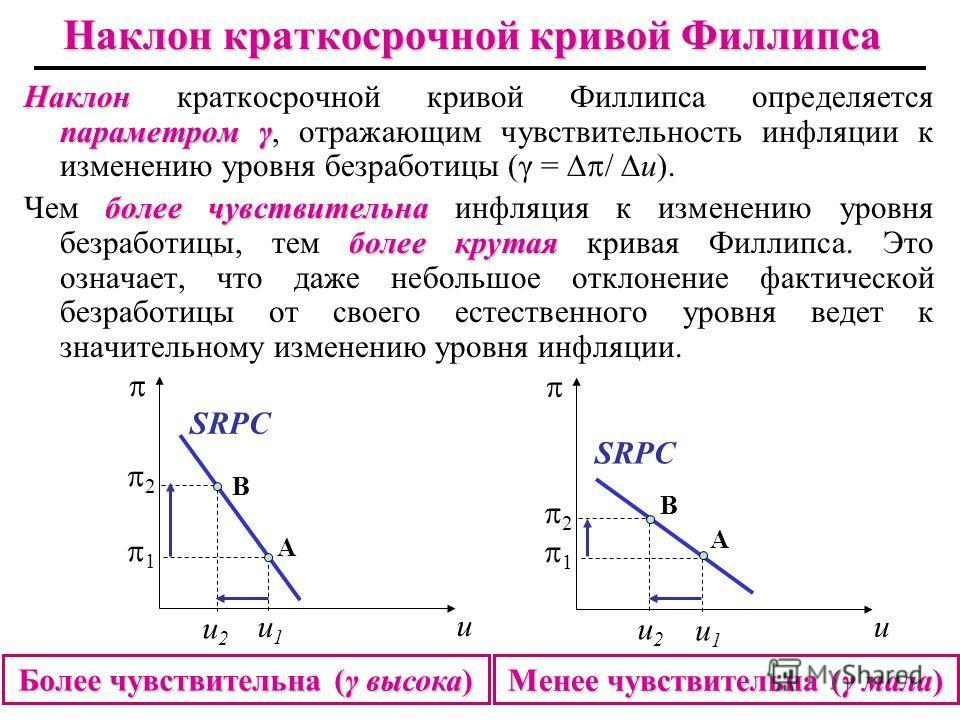 Наклон параметром γ Наклон краткосрочной кривой Филлипса определяется параметром γ, отражающим чувствительность инфляции к изменению уровня безработицы (γ = / u). более чувствительна более крутая Чем более чувствительна инфляция к изменению уровня бе