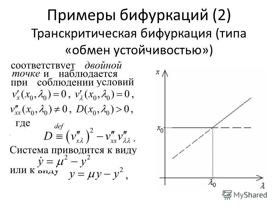 Примеры бифуркаций (2) Транскритическая бифуркация (типа «обмен устойчивостью»)