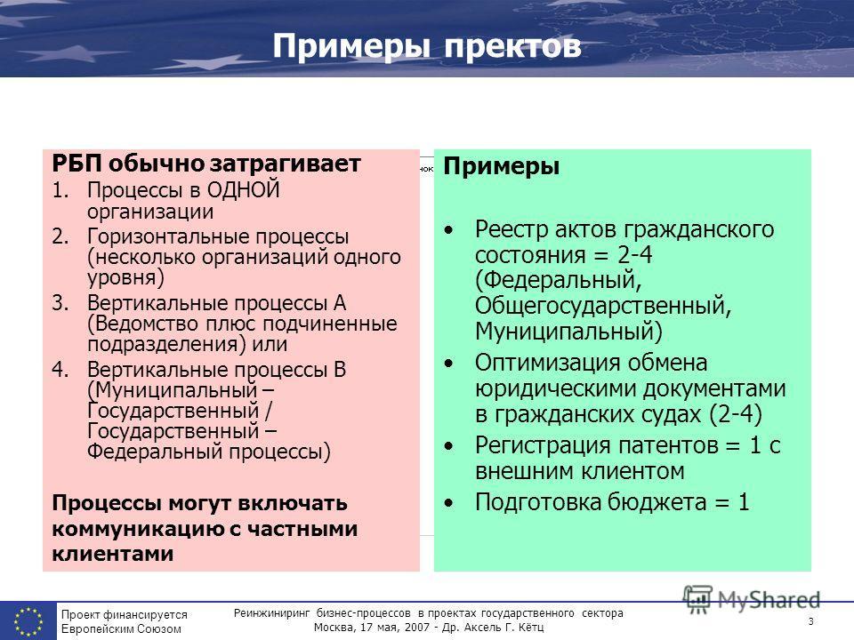Реинжиниринг бизнес-процессов в проектах государственного сектора Москва, 17 мая, 2007 - Др. Аксель Г. Кётц Проект финансируется Европейским Союзом 3 Примеры пректов РБП обычно затрагивает 1.Процессы в ОДНОЙ организации 2.Горизонтальные процессы (нес