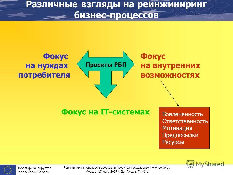 Реинжиниринг бизнес-процессов в проектах государственного сектора Москва, 17 мая, 2007 - Др. Аксель Г. Кётц Проект финансируется Европейским Союзом 6 Различные взгляды на реинжиниринг бизнес-процессов Фокус на нуждах потребителя Фокус на IT-системах