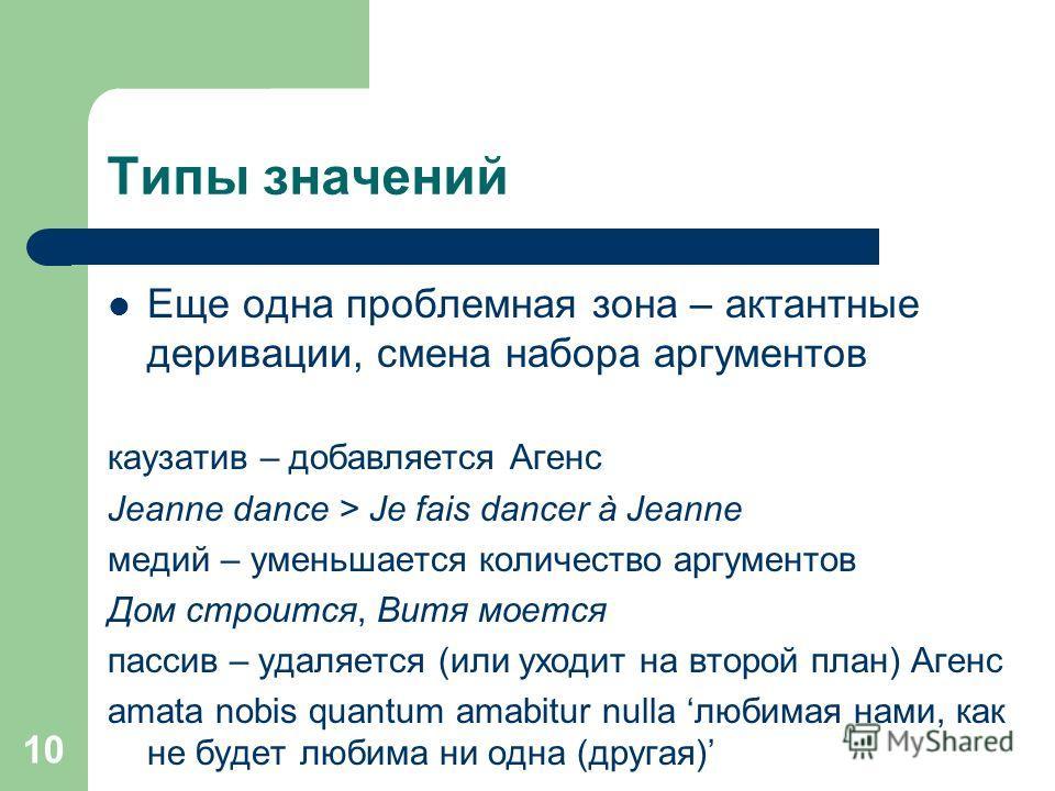 10 Типы значений Еще одна проблемная зона – актантные деривации, смена набора аргументов каузатив – добавляется Агенс Jeanne dance > Je fais dancer à Jeanne медий – уменьшается количество аргументов Дом строится, Витя моется пассив – удаляется (или у