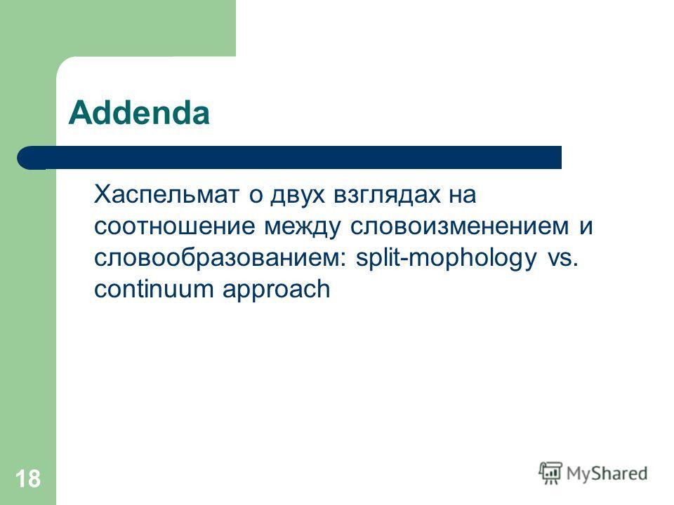 18 Addenda Хаспельмат о двух взглядах на соотношение между словоизменением и словообразованием: split-mophology vs. continuum approach