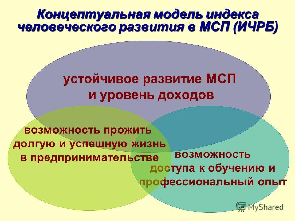 Концептуальная модель индекса человеческого развития в МСП (ИЧРБ) устойчивое развитие МСП и уровень доходов возможность доступа к обучению и профессиональный опыт возможность прожить долгую и успешную жизнь в предпринимательстве
