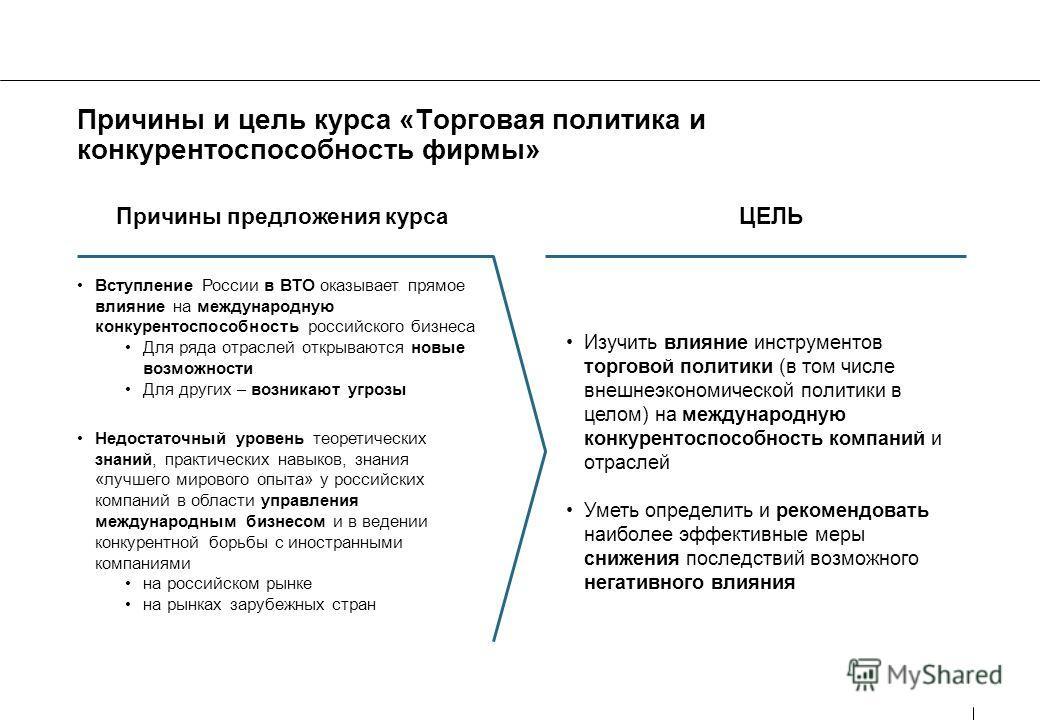 Причины и цель курса «Торговая политика и конкурентоспособность фирмы» Причины предложения курса Вступление России в ВТО оказывает прямое влияние на международную конкурентоспособность российского бизнеса Для ряда отраслей открываются новые возможнос