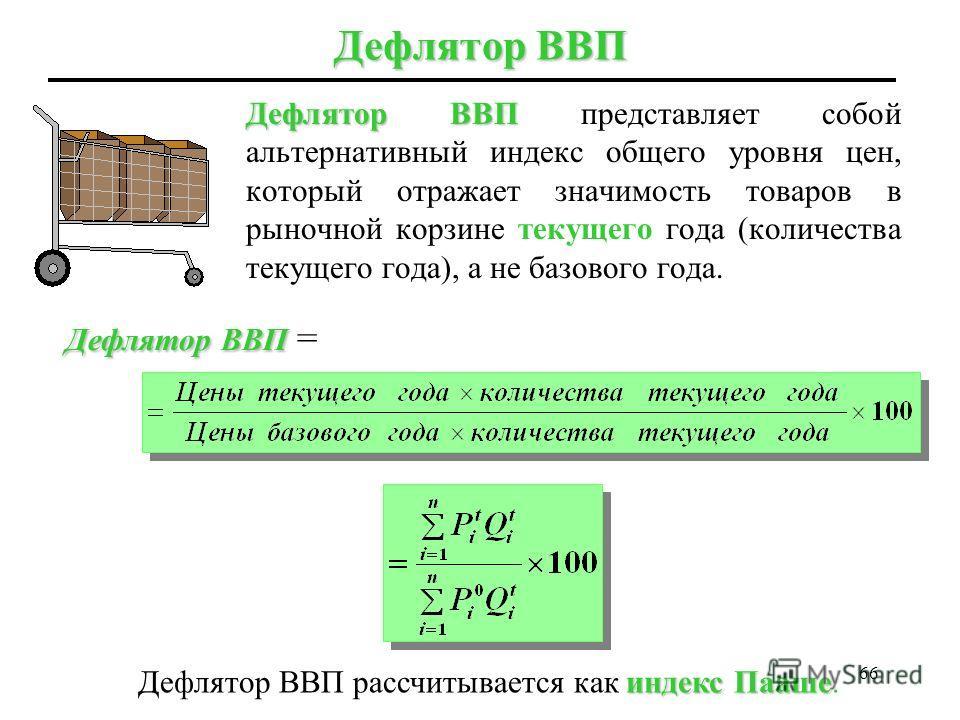 65 Индекс цен производителей основан на ценах фиксированной «рыночной корзины» сотен промежуточных товаров (таких как древесина или сталь), используемых производителями в процессе производства в базовом году; индекс Ласпейресарассчитывается как индек