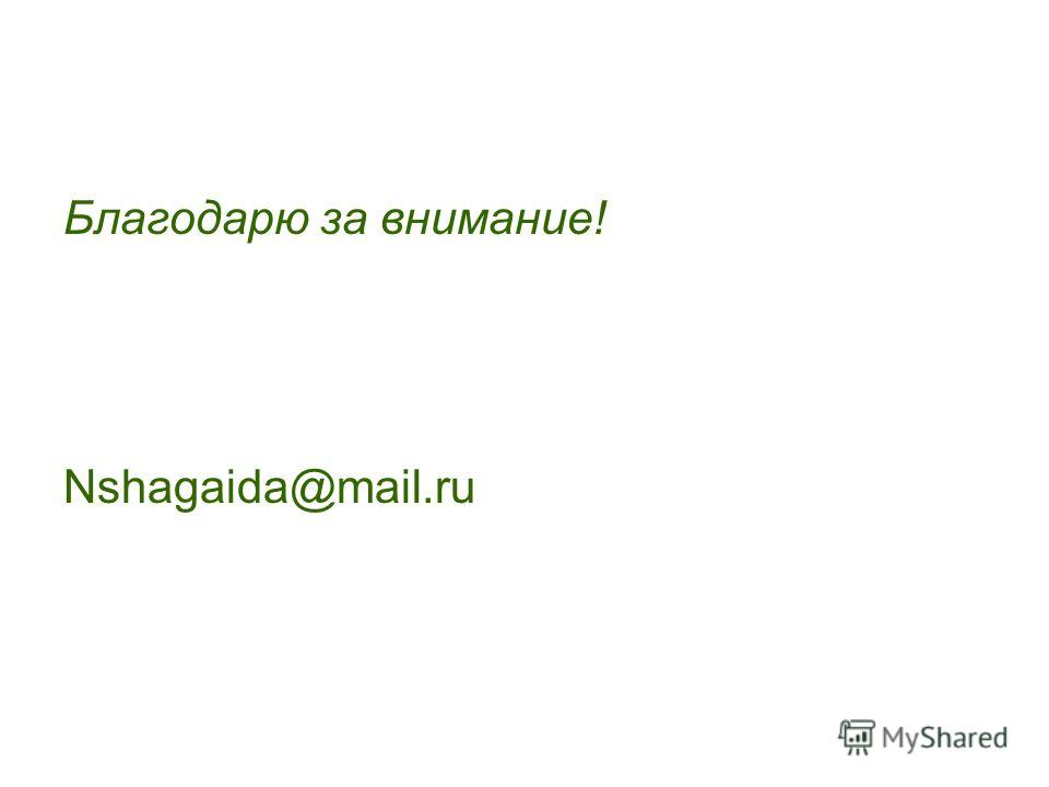 Благодарю за внимание! Nshagaida@mail.ru