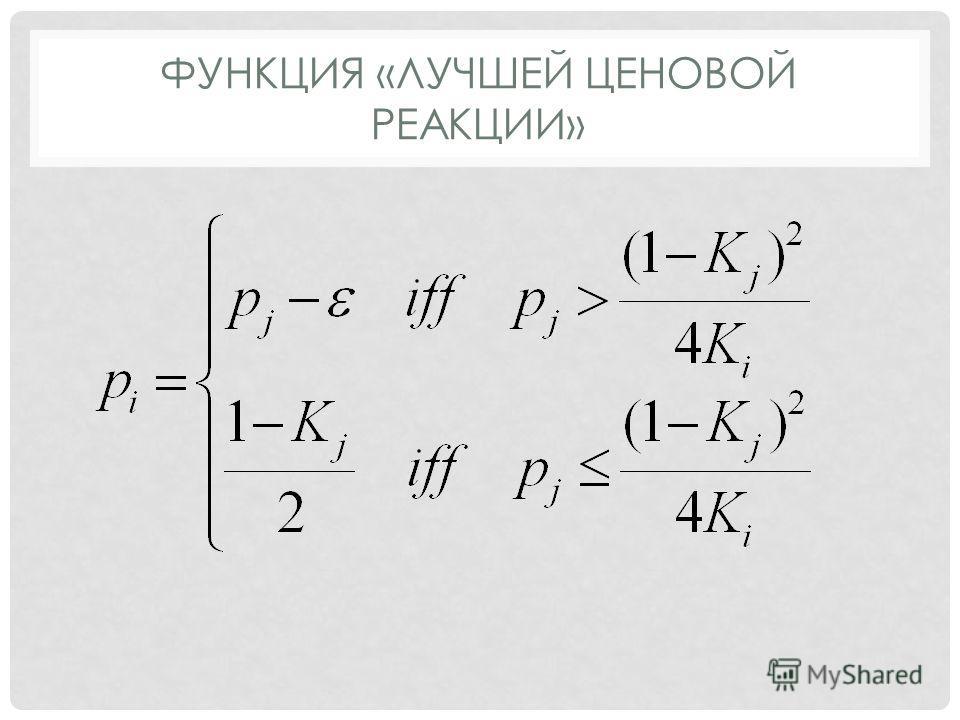 ФУНКЦИЯ «ЛУЧШЕЙ ЦЕНОВОЙ РЕАКЦИИ»