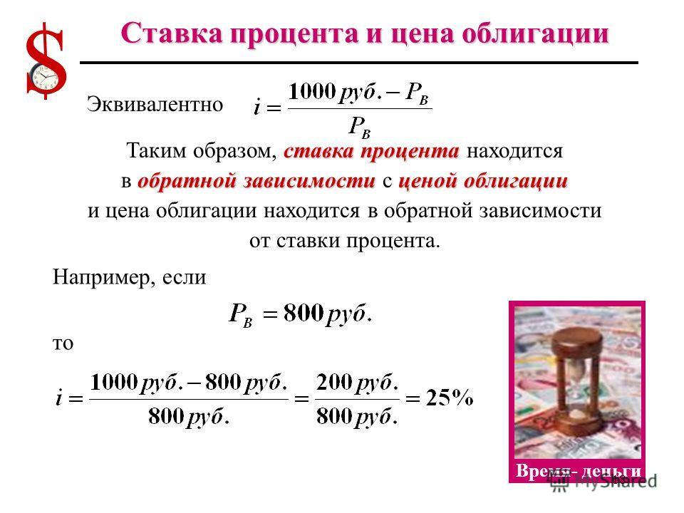 Цена облигации и ставка процента Цена облигации является приведенной к настоящему стоимостью будущих доходов (present value - PV) по этой облигации. Предположим, что вы покупаете облигацию, выпущенную на 1 год и хотите получить через год 1000 руб. (т