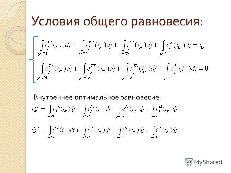 Условия общего равновесия : Внутреннее оптимальное равновесие :