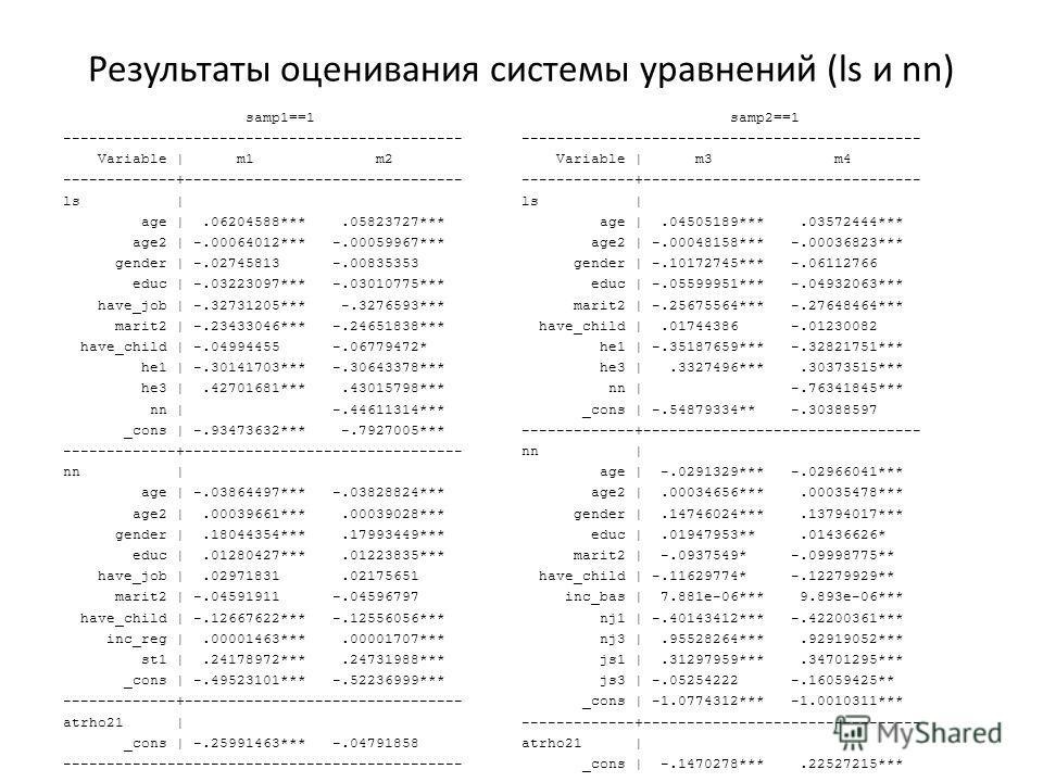 Результаты оценивания системы уравнений (ls и nn) samp1==1 ---------------------------------------------- Variable   m1 m2 -------------+-------------------------------- ls   age  .06204588***.05823727*** age2   -.00064012*** -.00059967*** gender   -