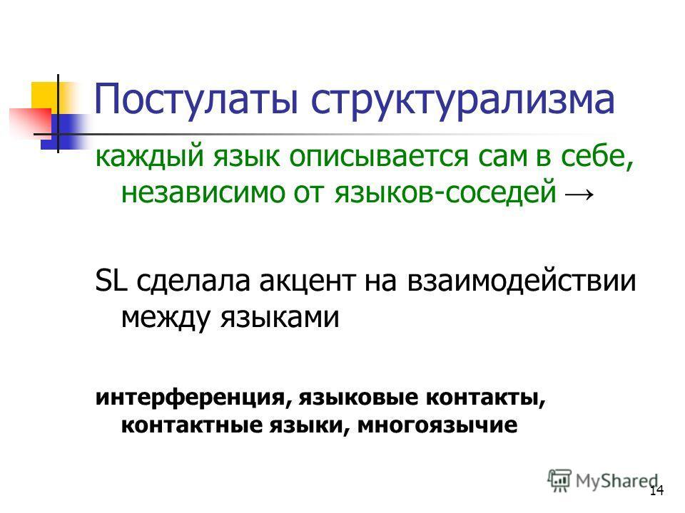 14 Постулаты структурализма каждый язык описывается сам в себе, независимо от языков-соседей SL сделала акцент на взаимодействии между языками интерференция, языковые контакты, контактные языки, многоязычие