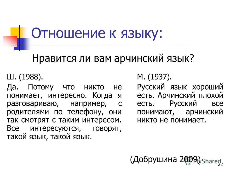 22 Отношение к языку: Нравится ли вам арчинский язык? Ш. (1988). Да. Потому что никто не понимает, интересно. Когда я разговариваю, например, с родителями по телефону, они так смотрят с таким интересом. Все интересуются, говорят, такой язык, такой яз