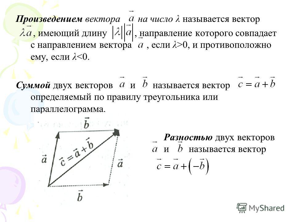 Произведением вектора на число λ называется вектор, имеющий длину, направление которого совпадает с направлением вектора, если λ>0, и противоположно ему, если λ