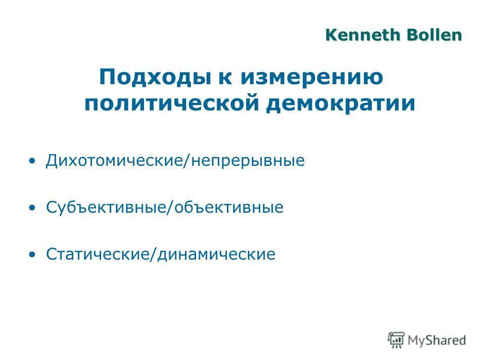 Подходы к измерению политической демократии Дихотомические/непрерывные Субъективные/объективные Статические/динамические