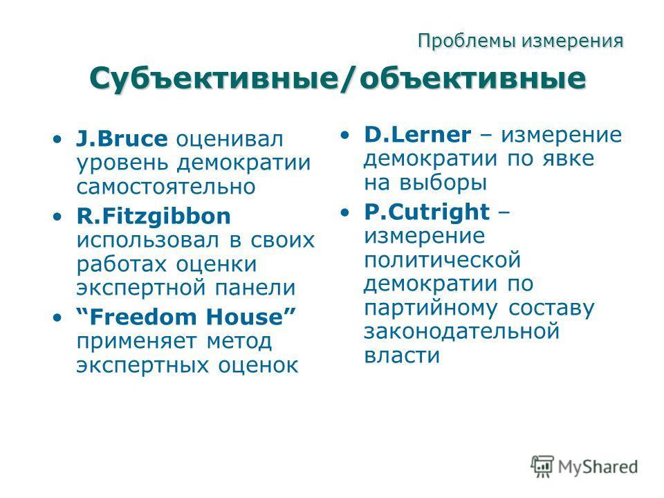 Проблемы измерения J.Bruce оценивал уровень демократии самостоятельно R.Fitzgibbon использовал в своих работах оценки экспертной панели Freedom House применяет метод экспертных оценок D.Lerner – измерение демократии по явке на выборы P.Cutright – изм