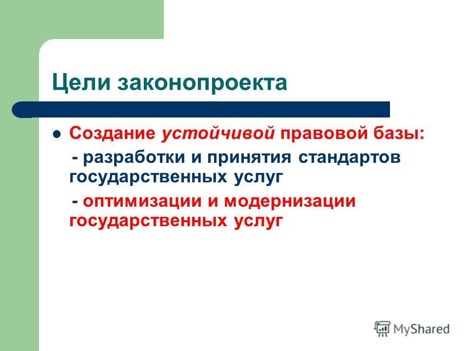 Цели законопроекта Создание устойчивой правовой базы: - разработки и принятия стандартов государственных услуг - оптимизации и модернизации государственных услуг