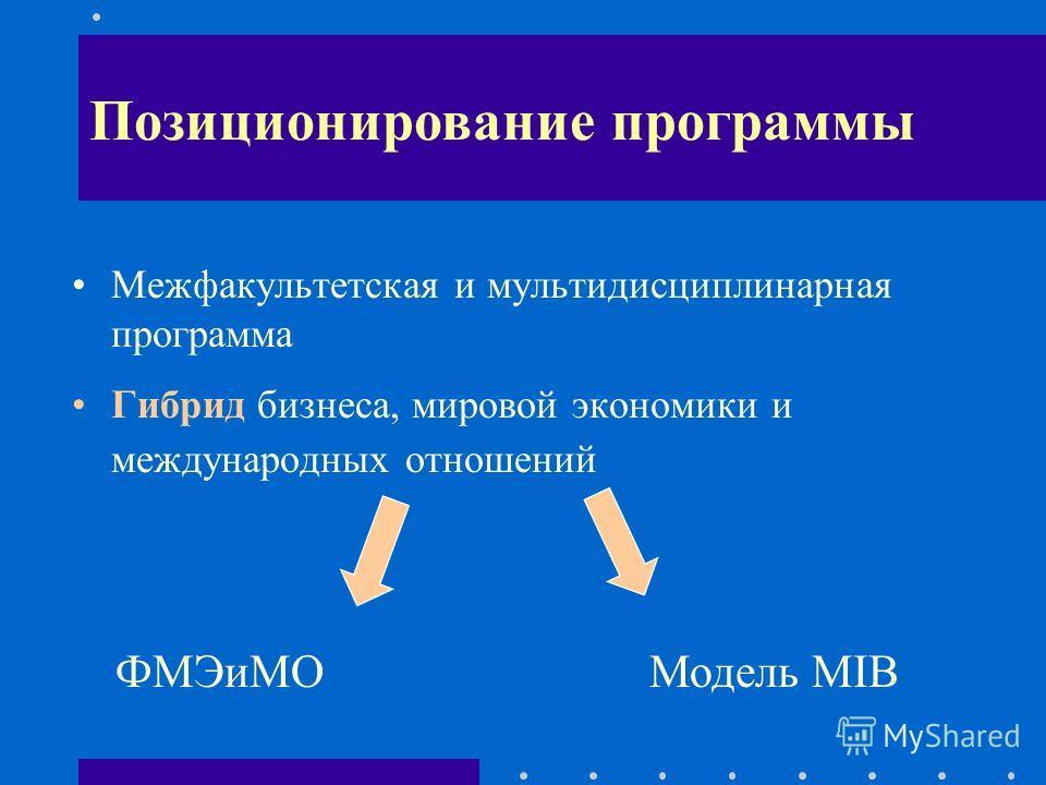 Необходимость изучения дисциплины Межфакультетская и мультидисциплинарная программа Гибрид бизнеса, мировой экономики и международных отношений Позиционирование программы ФМЭиМО Модель MIB