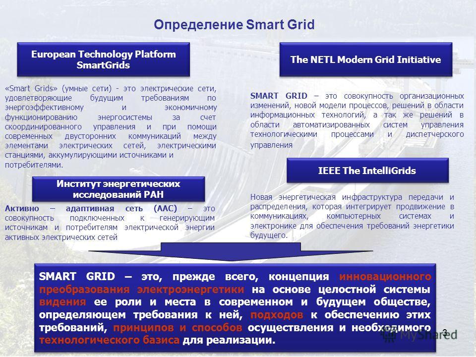3 Определение Smart Grid SMART GRID – это совокупность организационных изменений, новой модели процессов, решений в области информационных технологий, а так же решений в области автоматизированных систем управления технологическими процессами и диспе