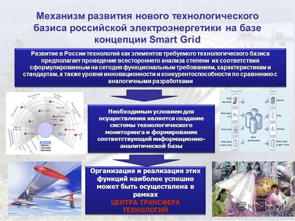 31 Механизм развития нового технологического базиса российской электроэнергетики на базе концепции Smart Grid Развитие в России технологий как элементов требуемого технологического базиса предполагает проведение всестороннего анализа степени их соотв