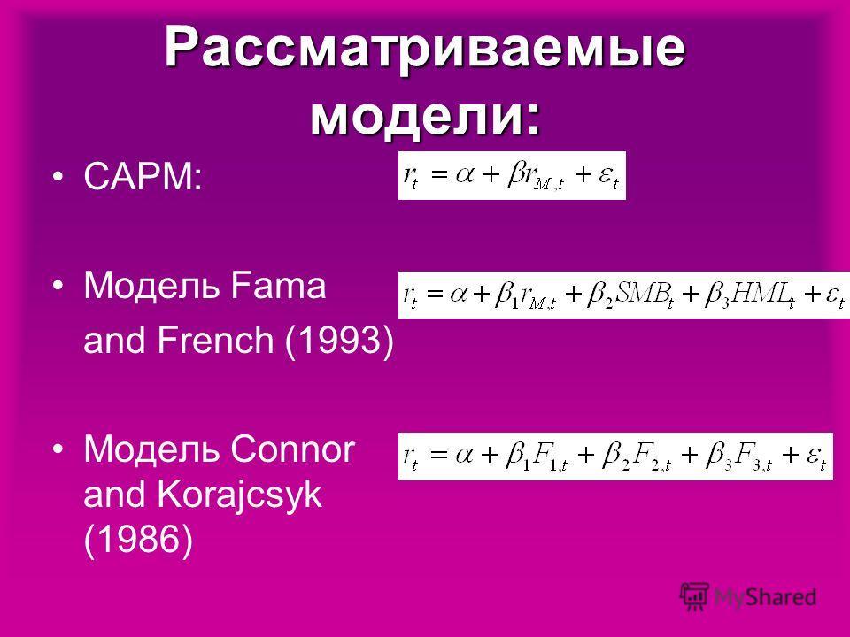 Рассматриваемые модели: CAPM: Модель Fama and French (1993) Модель Connor and Korajcsyk (1986)
