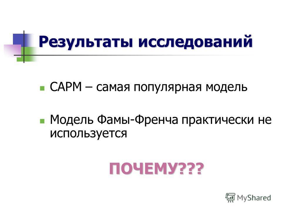 Результаты исследований САРМ – самая популярная модель Модель Фамы-Френча практически не используетсяПОЧЕМУ???