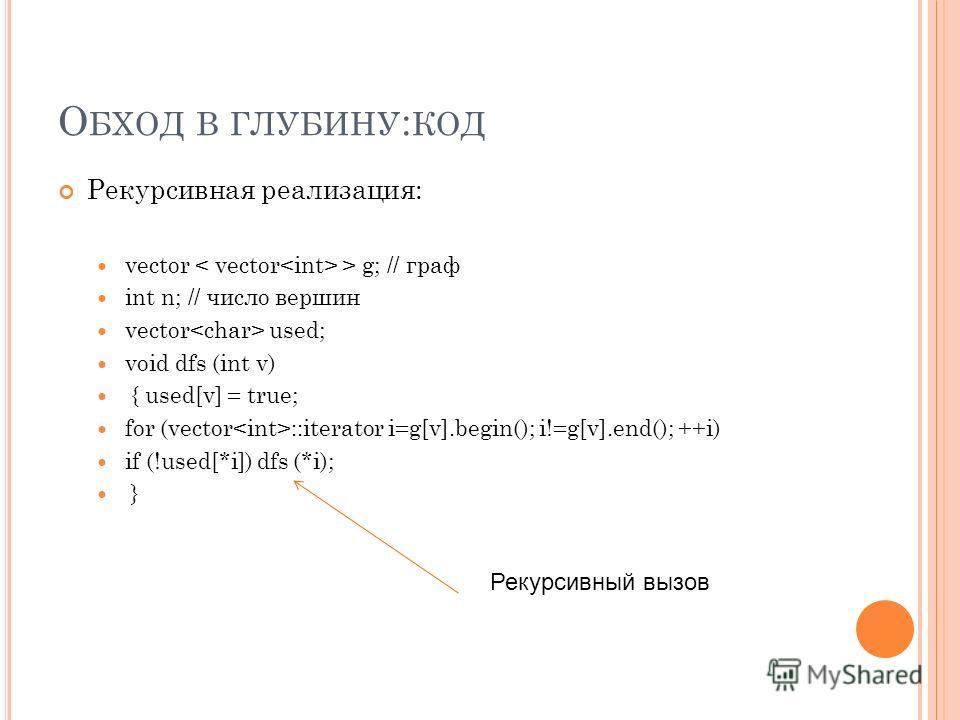 О БХОД В ГЛУБИНУ : КОД Рекурсивная реализация: vector > g; // граф int n; // число вершин vector used; void dfs (int v) { used[v] = true; for (vector ::iterator i=g[v].begin(); i!=g[v].end(); ++i) if (!used[*i]) dfs (*i); } Рекурсивный вызов
