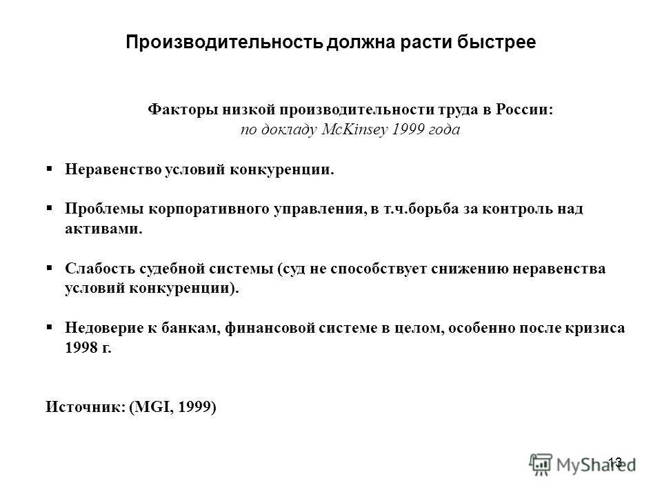 13 Производительность должна расти быстрее Факторы низкой производительности труда в России: по докладу McKinsey 1999 года Неравенство условий конкуренции. Проблемы корпоративного управления, в т.ч.борьба за контроль над активами. Слабость судебной с