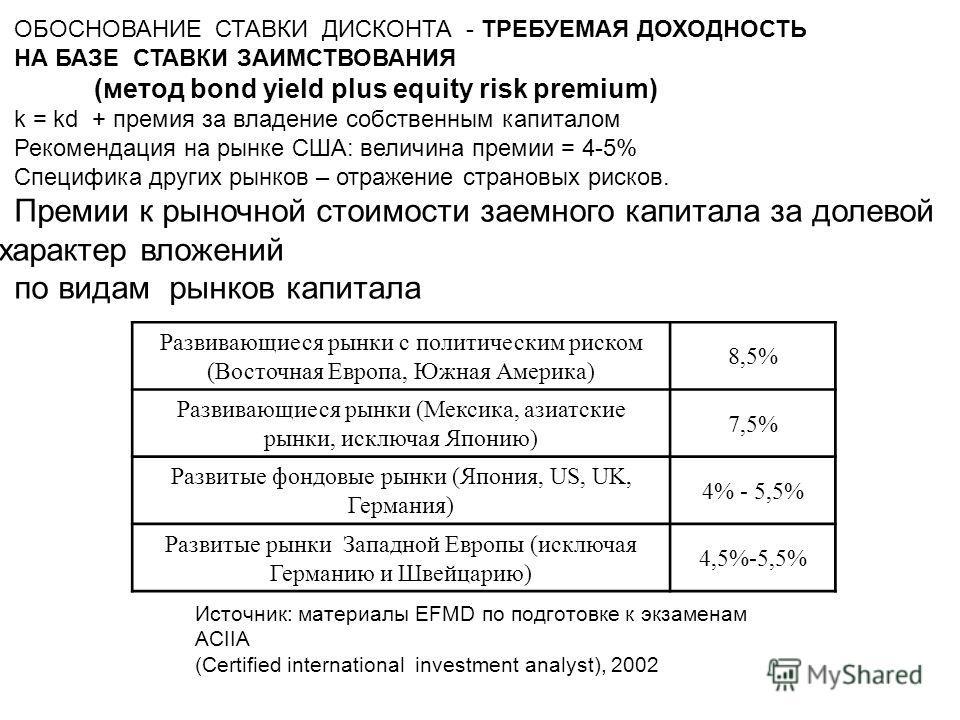 ОБОСНОВАНИЕ СТАВКИ ДИСКОНТА - ТРЕБУЕМАЯ ДОХОДНОСТЬ НА БАЗЕ СТАВКИ ЗАИМСТВОВАНИЯ (метод bond yield plus equity risk premium) k = kd + премия за владение собственным капиталом Рекомендация на рынке США: величина премии = 4-5% Специфика других рынков –