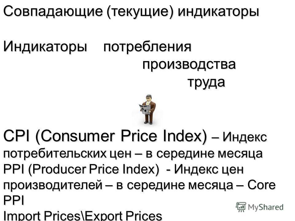Совпадающие (текущие) индикаторы Индикаторы потребления производства производства труда труда CPI (Consumer Price Index) – Индекс потребительских цен – в середине месяца PPI (Producer Price Index) - Индекс цен производителей – в середине месяца – Cor