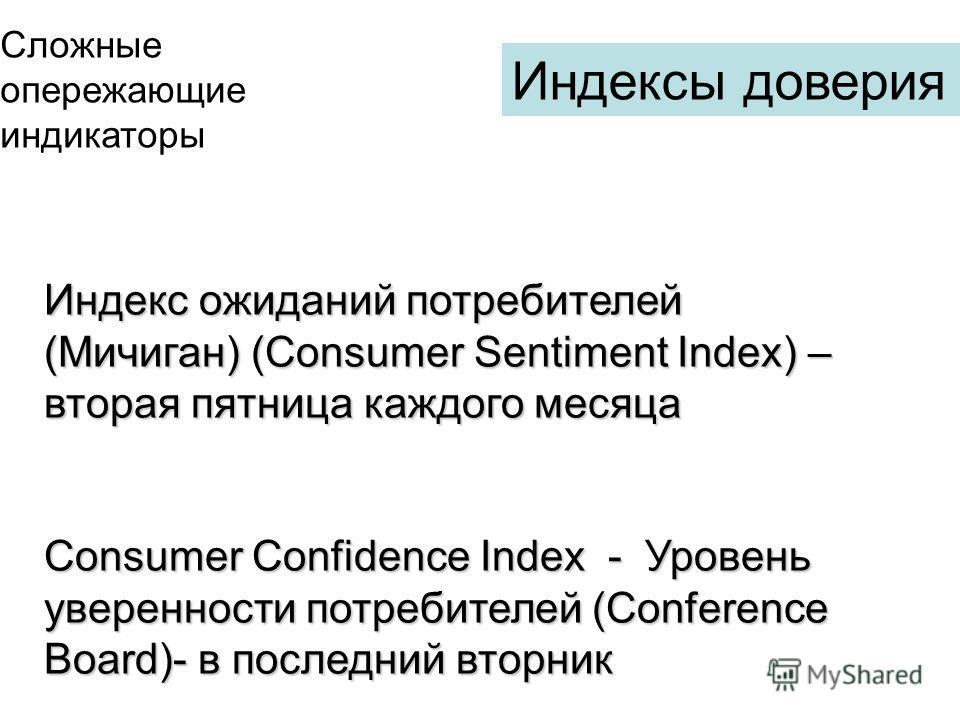 Индекс ожиданий потребителей (Мичиган) (Consumer Sentiment Index) – вторая пятница каждого месяца Consumer Confidence Index - Уровень уверенности потребителей (Conference Board)- в последний вторник Индексы доверия Сложные опережающие индикаторы