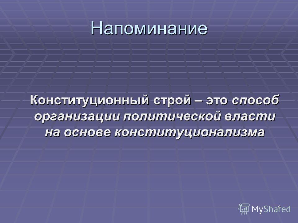4 Напоминание Конституционный строй – это способ организации политической власти на основе конституционализма Конституционный строй – это способ организации политической власти на основе конституционализма